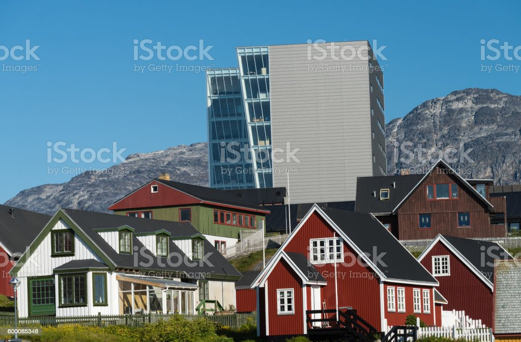 Old and new in Nuuk, the charming capital of Greenland stock photo