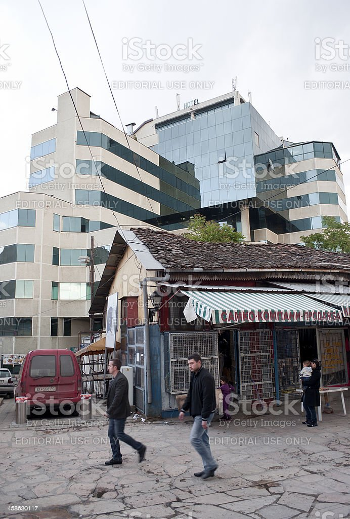 Old and New in Skopje Centre Macedonia royalty-free stock photo