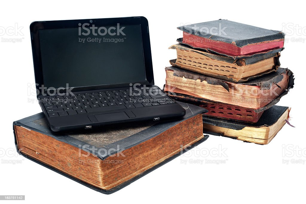 Old and New - Laptop with Books royalty-free stock photo
