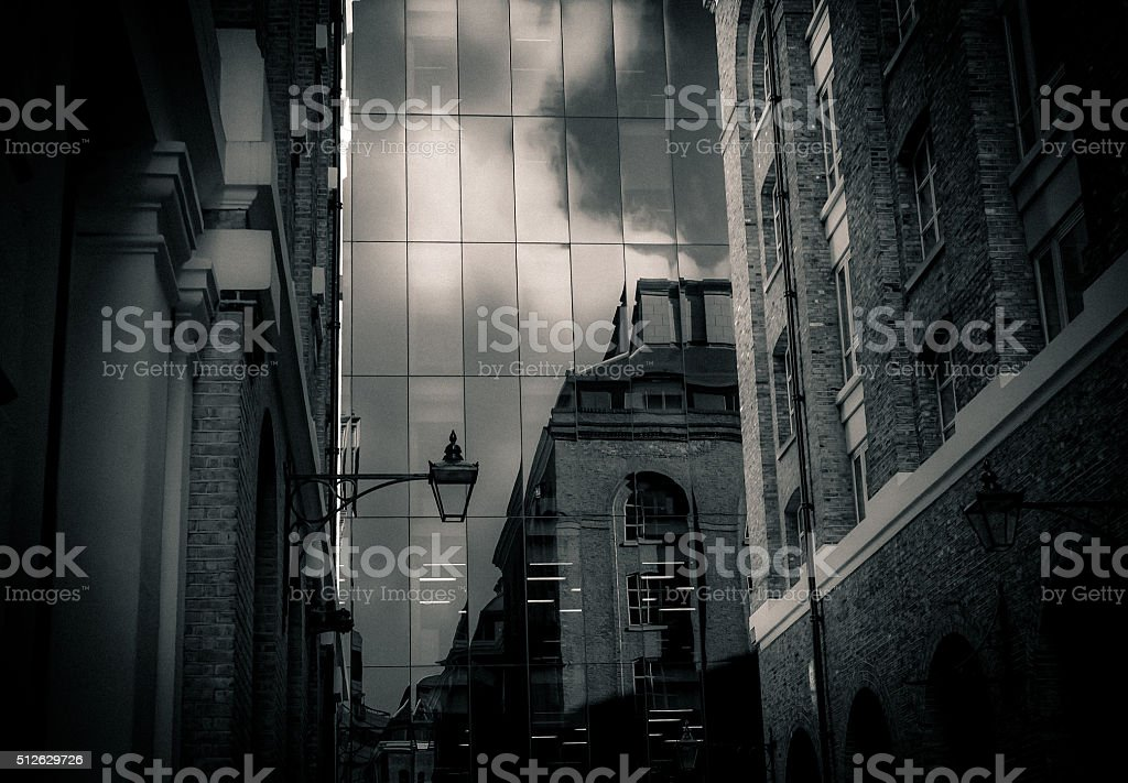 Old and new London - reflections - black and white stock photo