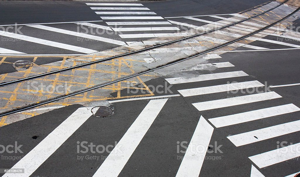 Old and new road markings stock photo