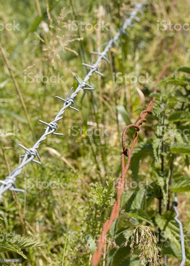 Old and New - Rural barbed wire fence royalty-free stock photo