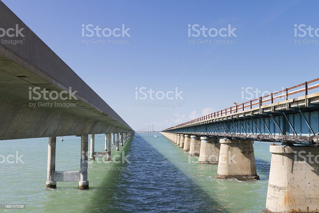 Old and New Seven Mile Bridge stock photo