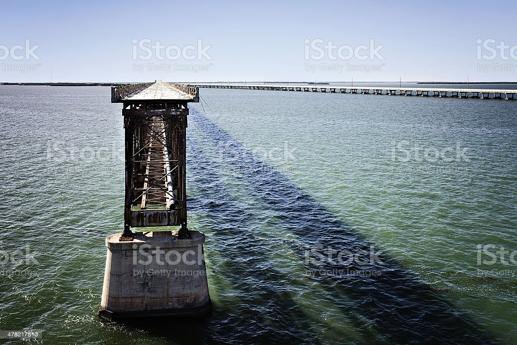 Old and new seven miles bridges stock photo