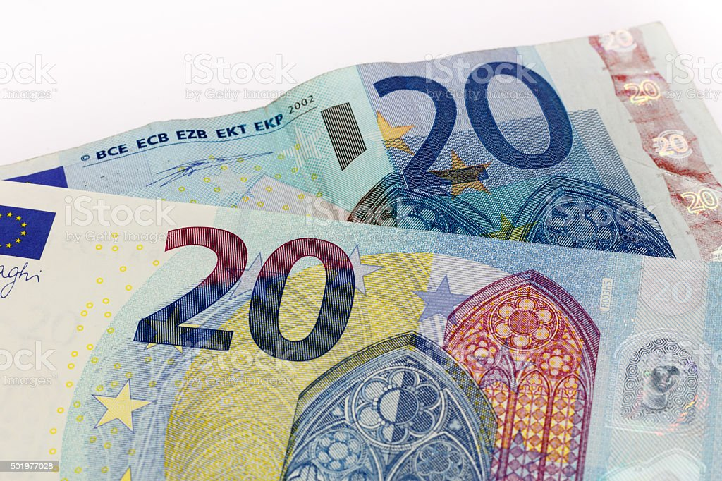 Old and New twenty 20 euro banknote bill front stock photo