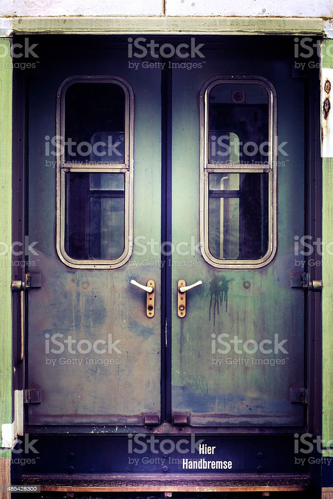 Old and rusty railroad car door stock photo