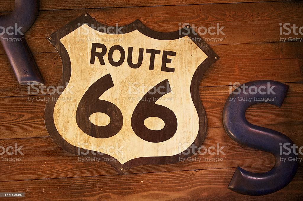 Old and Rusty Route 66 Sign royalty-free stock photo