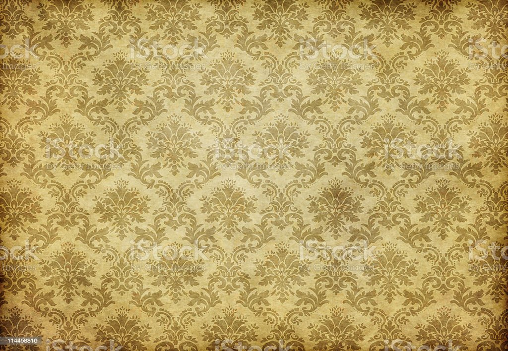 Old and stained damask wallpaper royalty-free stock photo