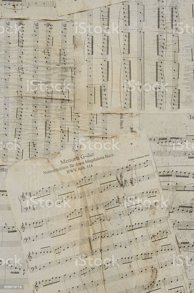 Old and thorn music sheets stock photo