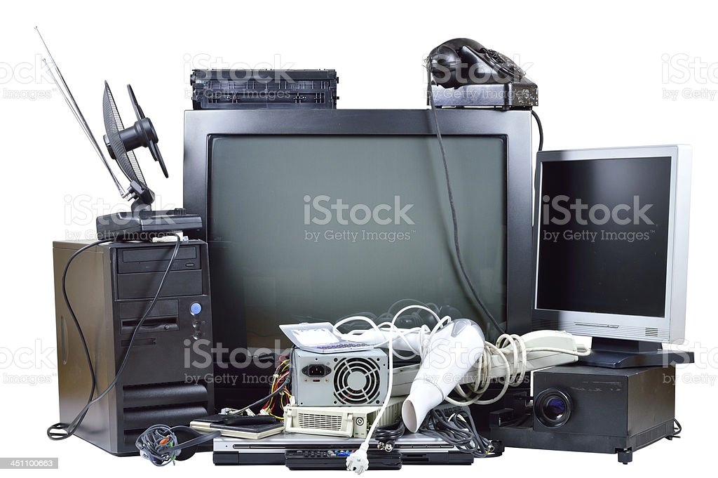 Old and used electric home waste. stock photo