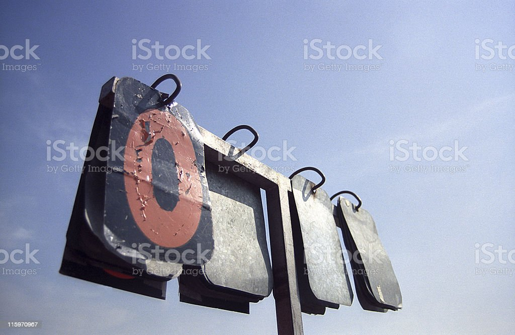 Old and very used scoreboard stock photo