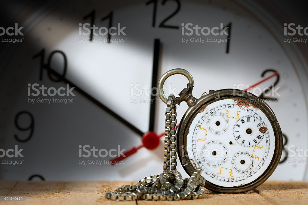 Old and Vintage Broken Pocket Watch stock photo
