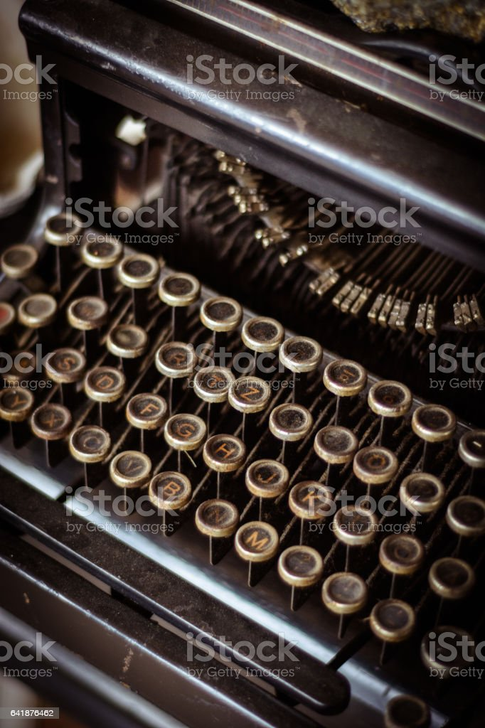 Old and vintage typing machine detail stock photo