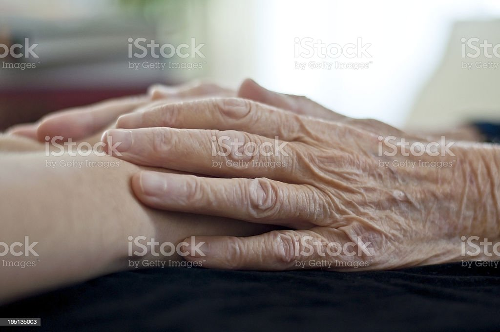 Old and young human hand royalty-free stock photo