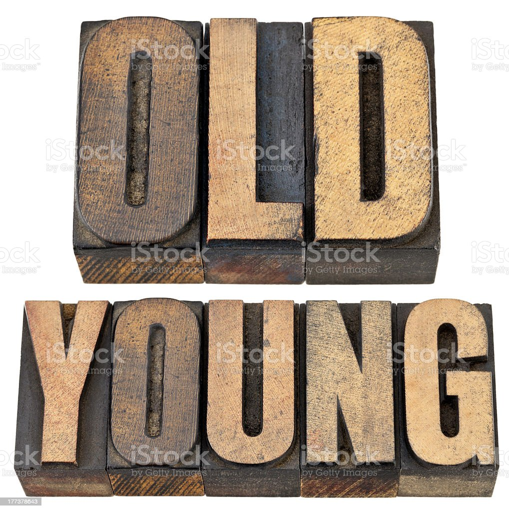 old and young in letterpress wood type stock photo