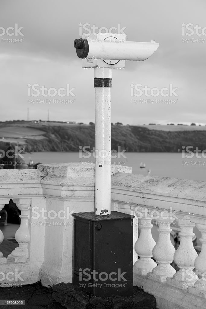 Old antic telescope on Plymouth Hoe royalty-free stock photo