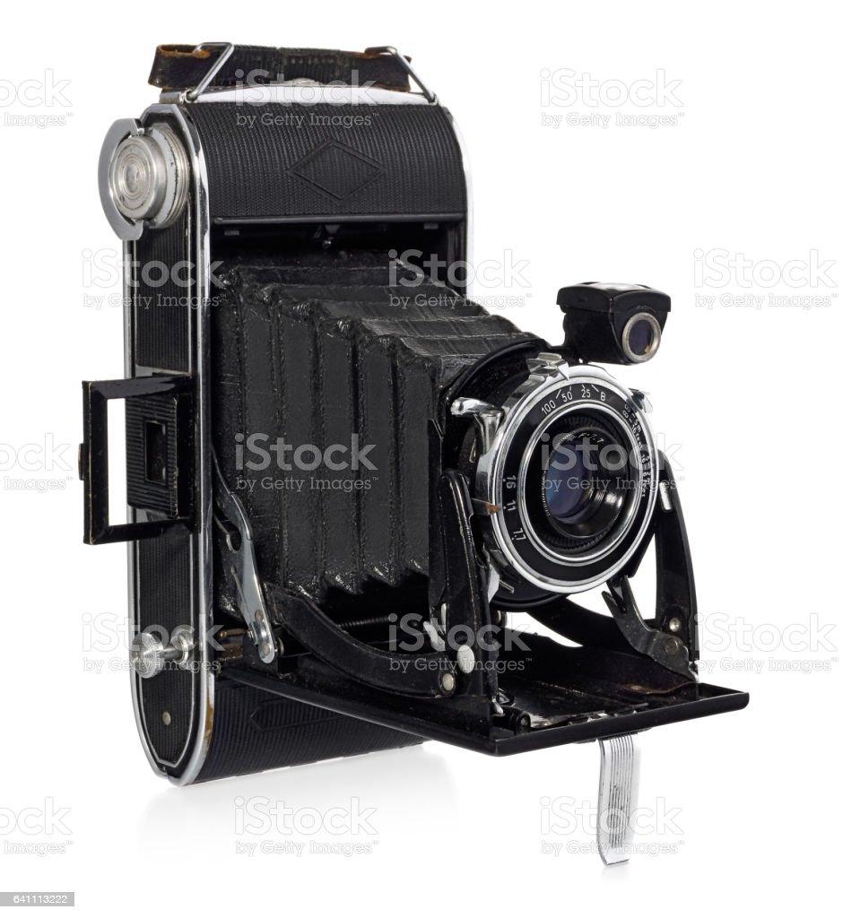 Old, antique, black, pocket camera. stock photo