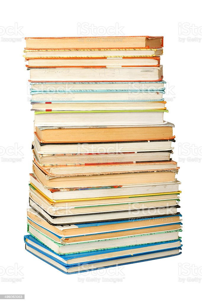 Old antique books on the white isolated background royalty-free stock photo