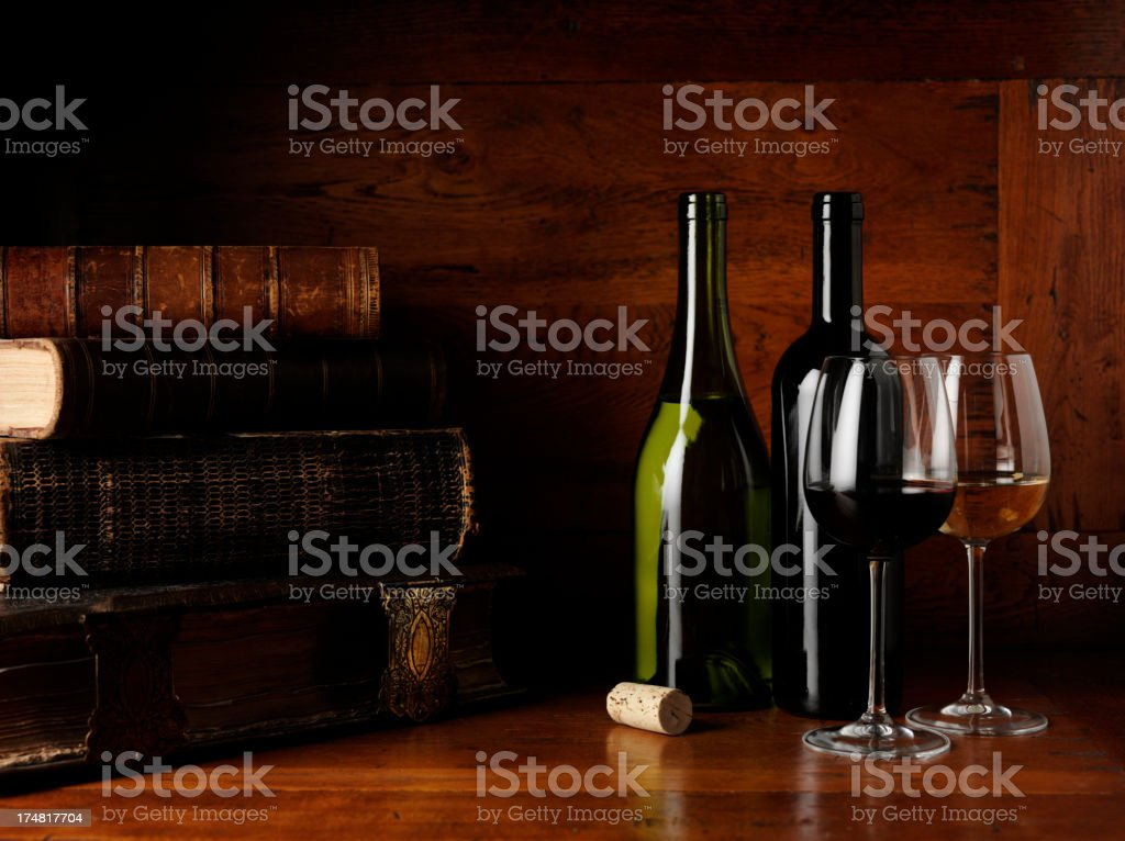 Old Antique Books with Wine Glasses and Bottles royalty-free stock photo