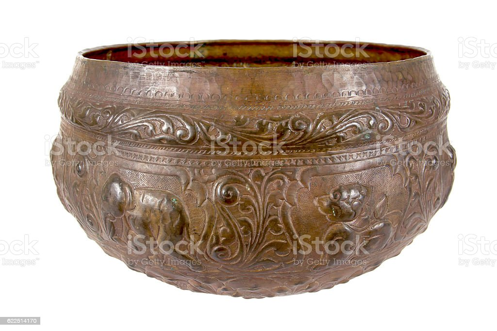 Old antique bronze bowl, brass bowl isolated on white background stock photo
