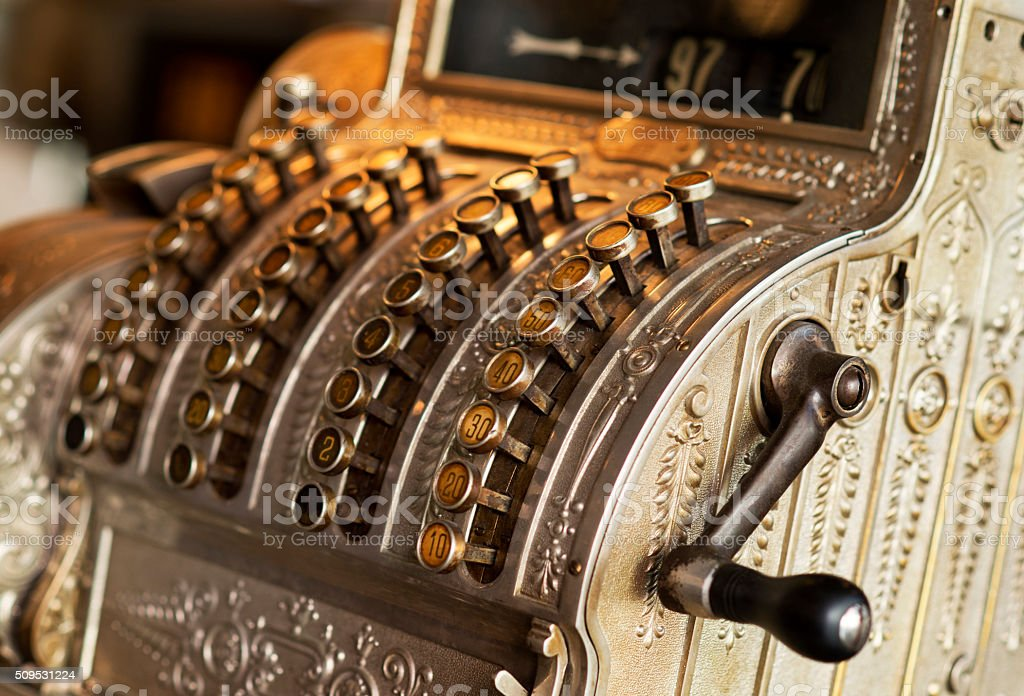 Old, antique cash register, early 1900 stock photo