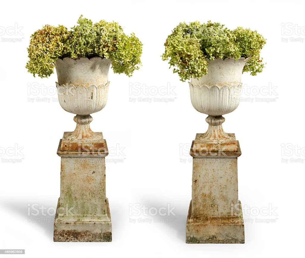 Old antique cast iron painted garden urns isolated stock photo