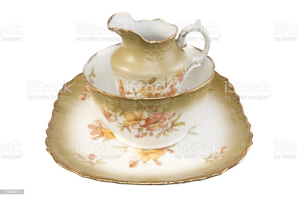 Old Antique Crockery Tea Set Plate Sugar Bowl Jug stock photo