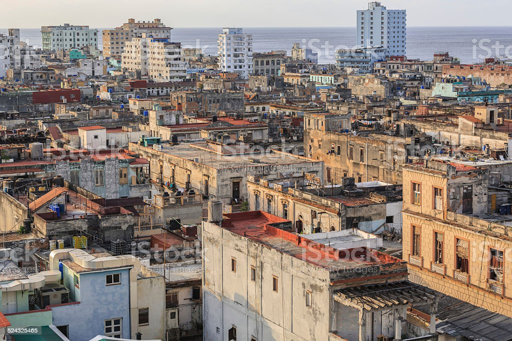 old antique Cuban Havana city against ocean and sky background stock photo