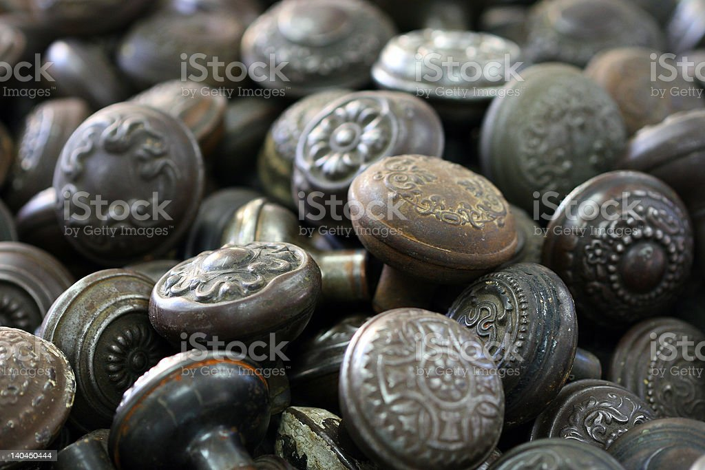 old antique doorknobs royalty-free stock photo