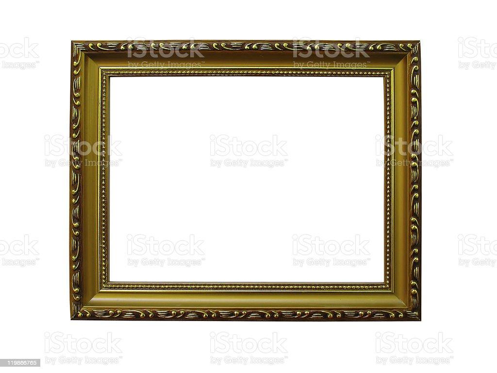 Velhos antigo ouro moldura com um padrão isolado sobre branco foto de stock royalty-free