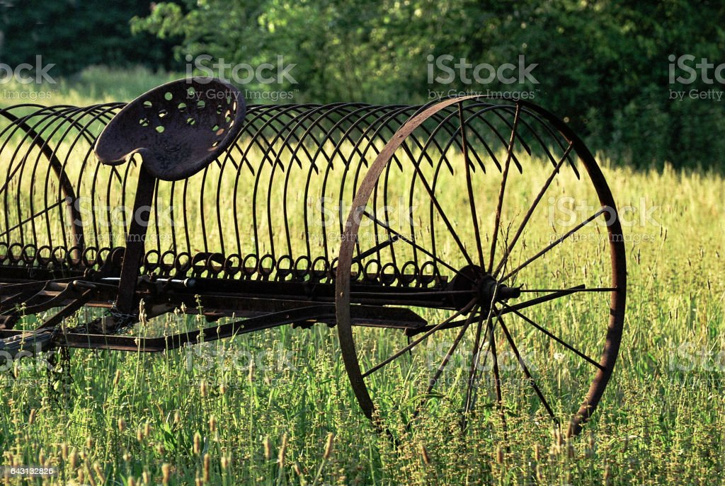 Old Antique Hay Rake stock photo