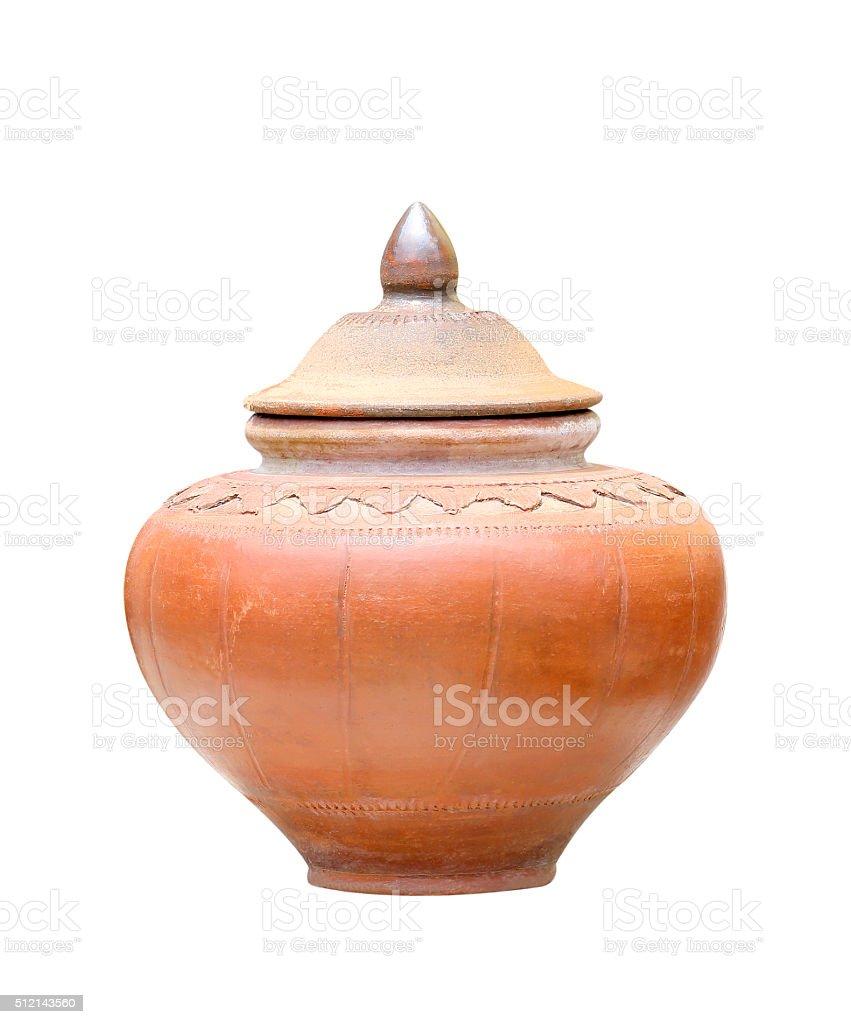 Old antique pot on white background stock photo