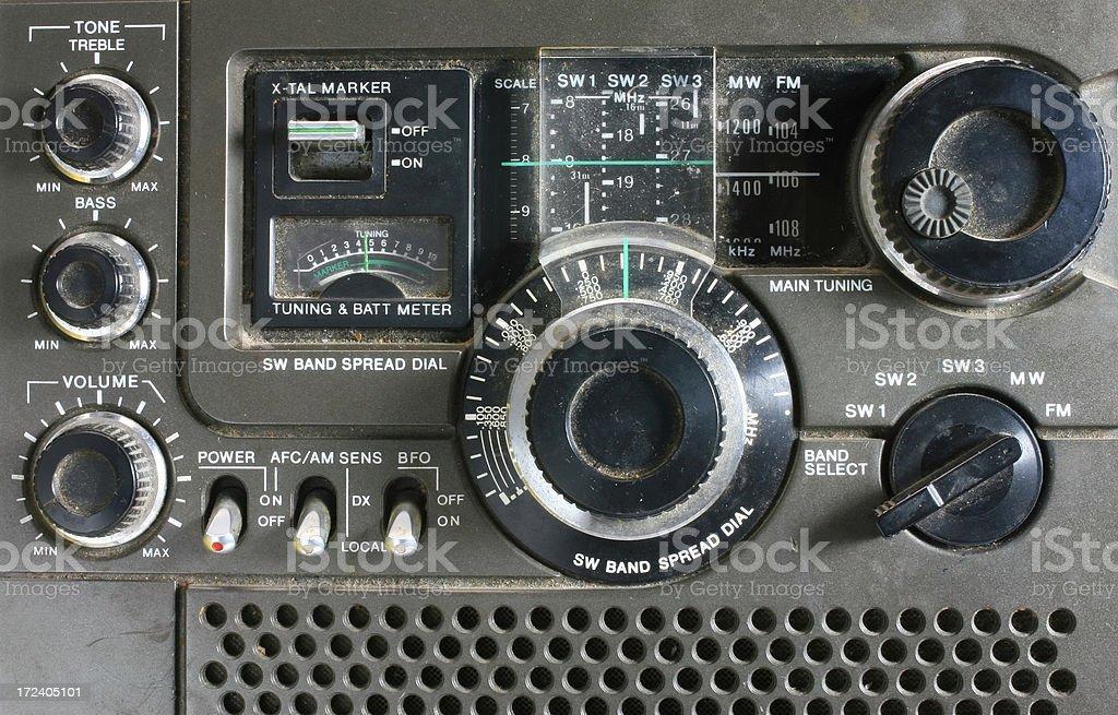 Old antique shortwave Radio Detail stock photo