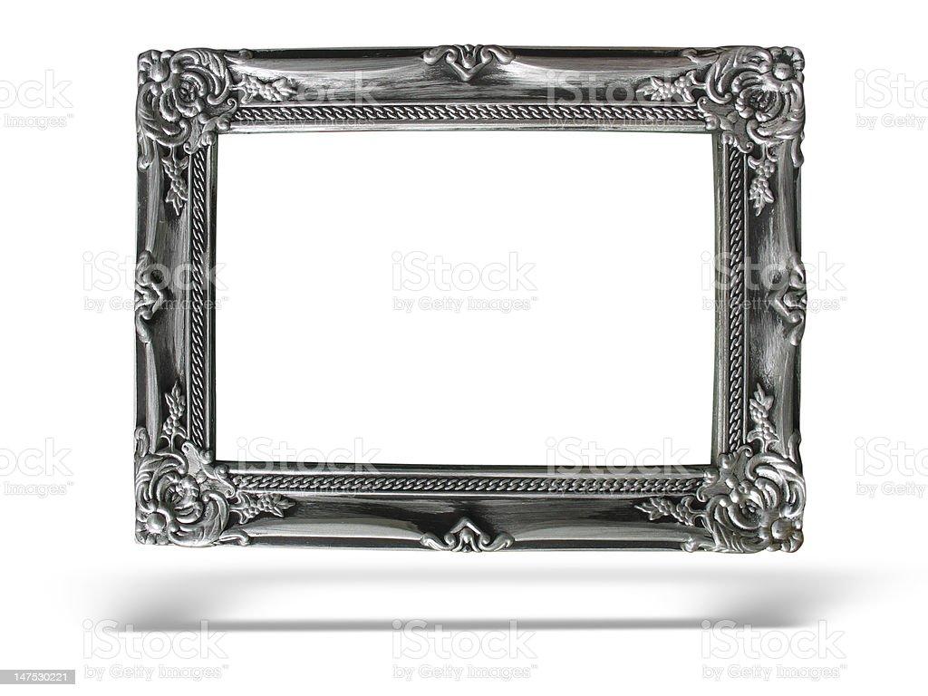 Antiga Moldura de prata sobre fundo branco foto de stock royalty-free