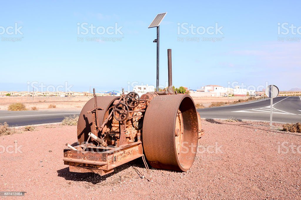 old antique steam roller stock photo
