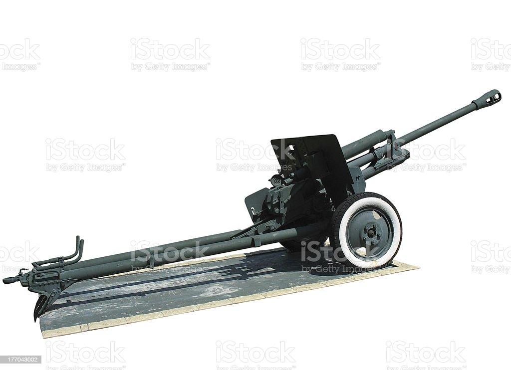 Old anti-tank cannon arma sobre branco foto de stock royalty-free