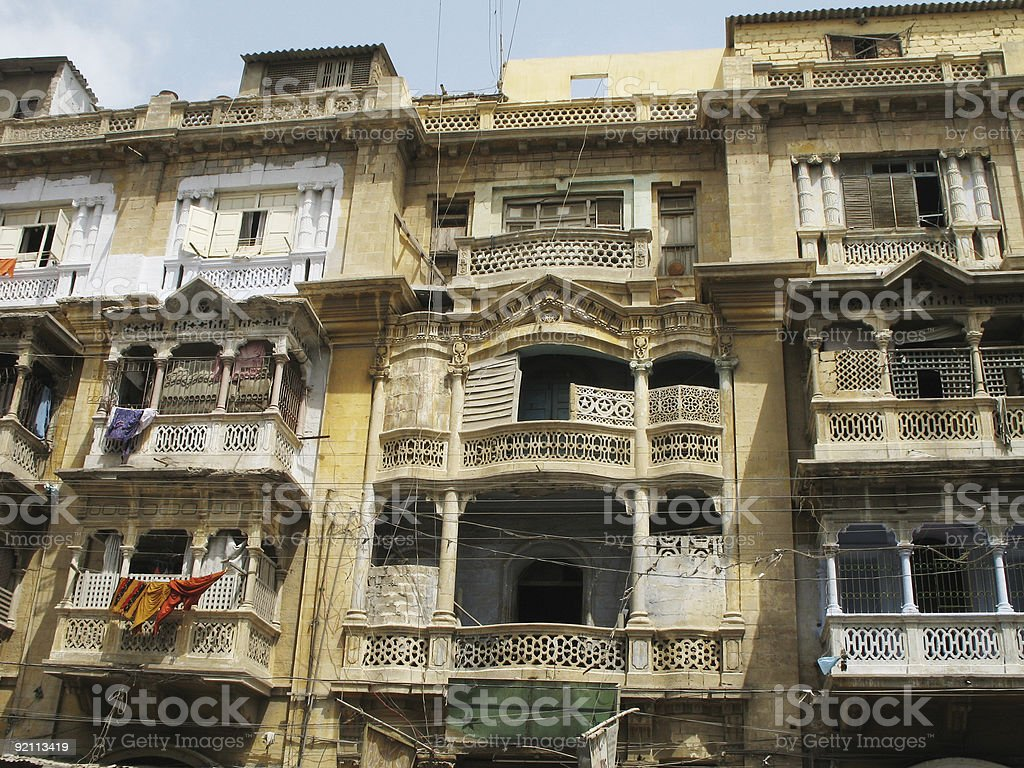Old apartment block stock photo