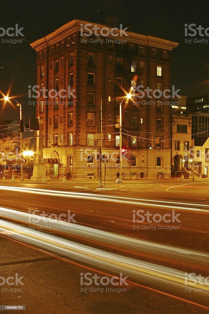 Old Apartment Building at Night, Dayton, Ohio royalty-free stock photo
