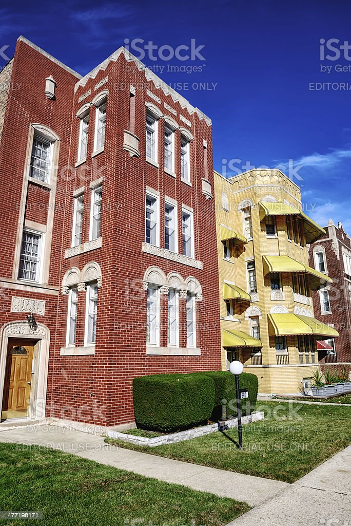 Old Apartment Building, Calumet Heights, Chicago stock photo