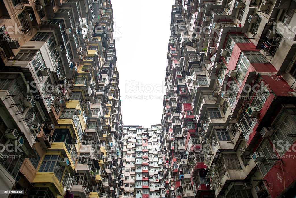 Old Apartment building in Hongkong. Asia stock photo