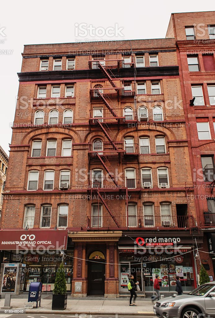 Old apartment building of New York City stock photo