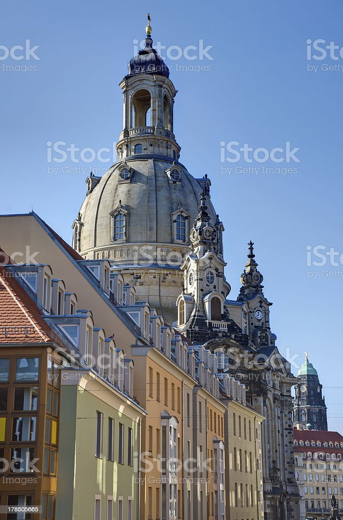 Old apartment buildings and the Frauenkirche stock photo