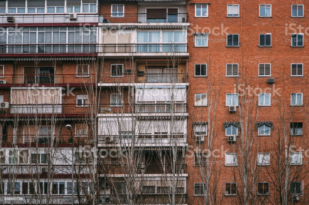 Old apartments in Madrid stock photo