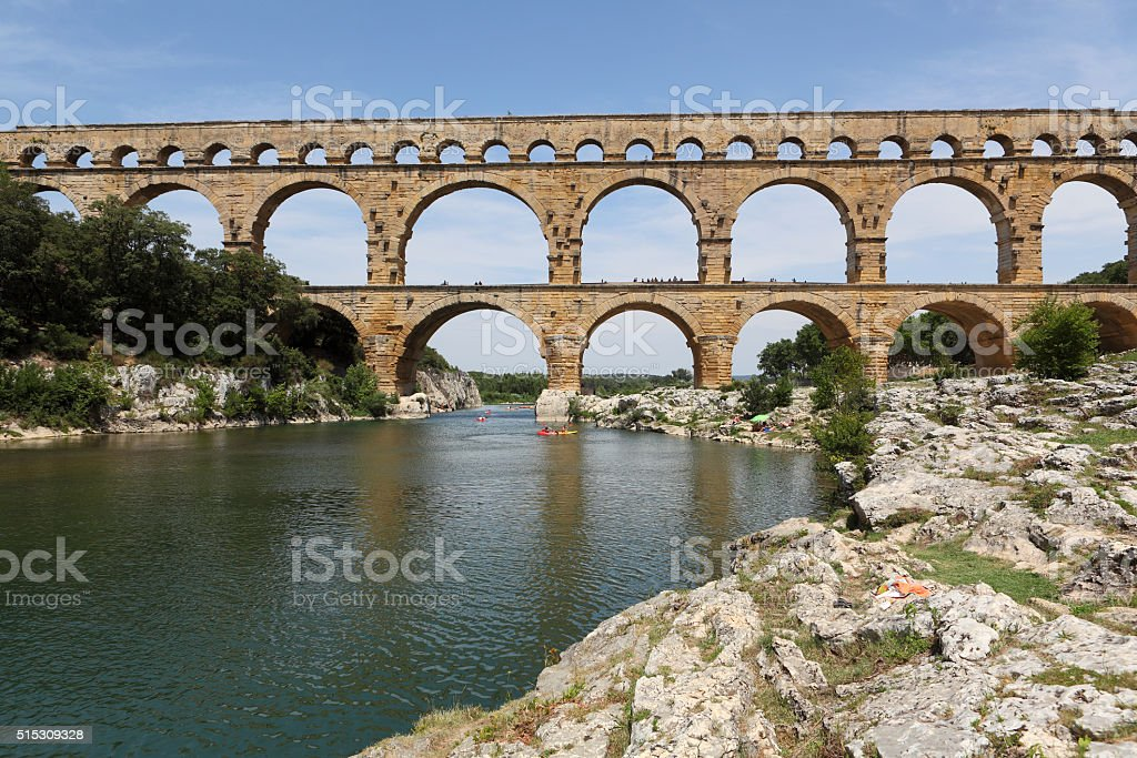 Old aqueduct  in france stock photo