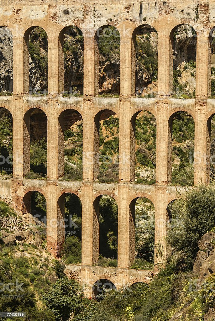 Old aqueduct in Nerja, Costa del Sol, Spain royalty-free stock photo