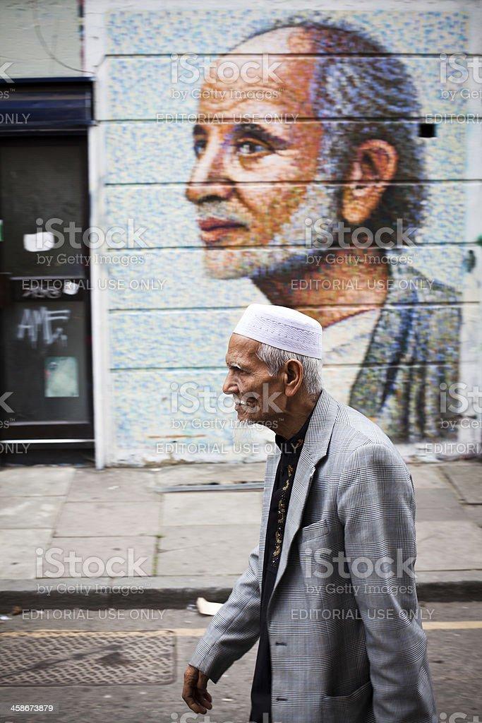 Old Arab Men Walking in London stock photo