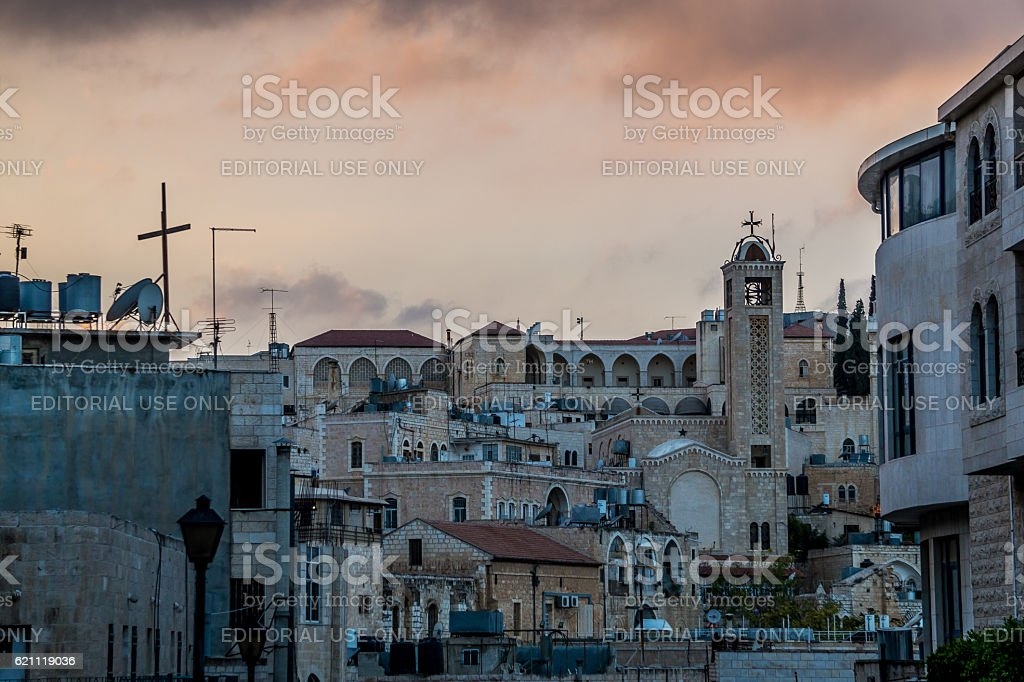 Old Arabian streets in Bethlehem. The Holy Land stock photo
