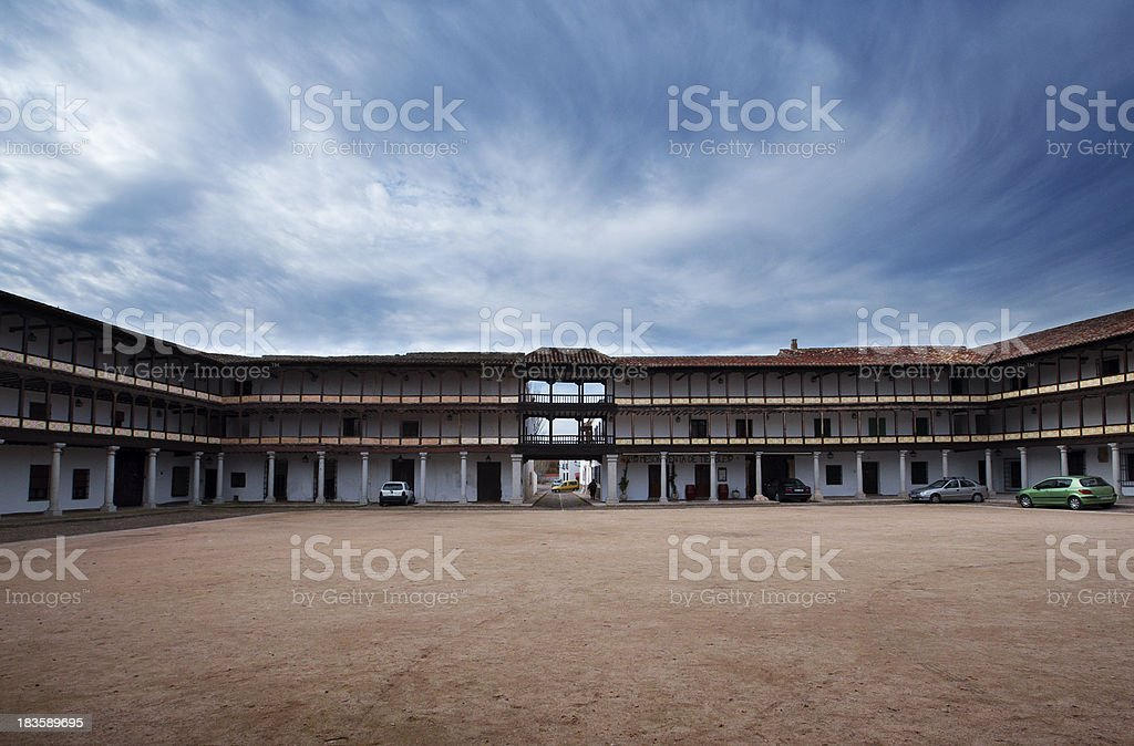 old arcaded square in Tembleque, on a cloudy day royalty-free stock photo