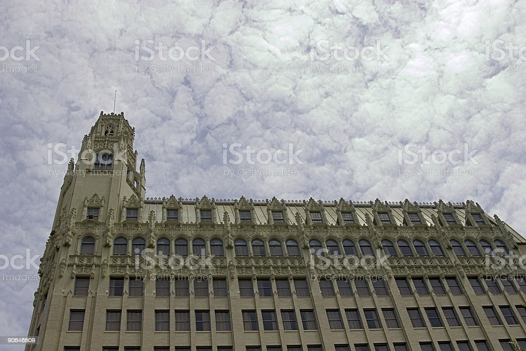 Old Architectural Building with Clouds. stock photo