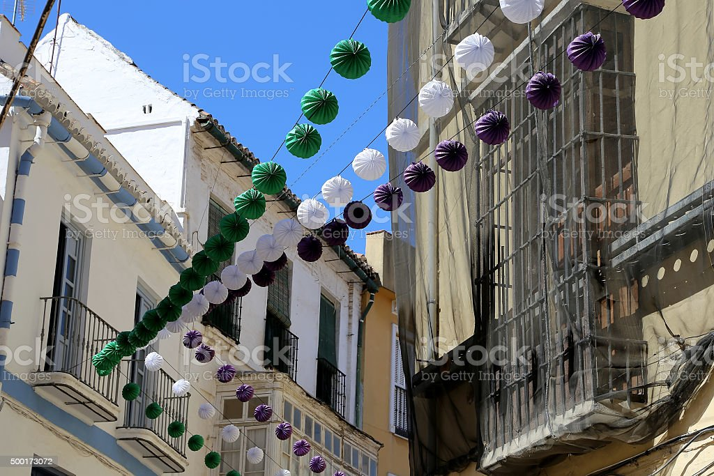 Old architecture in Malaga, Andalusia, Spain stock photo
